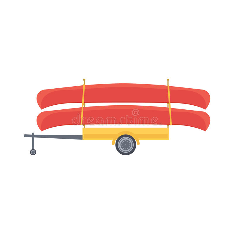 Yellow trailer with red canoe, vector illustration. In flat design style stock illustration