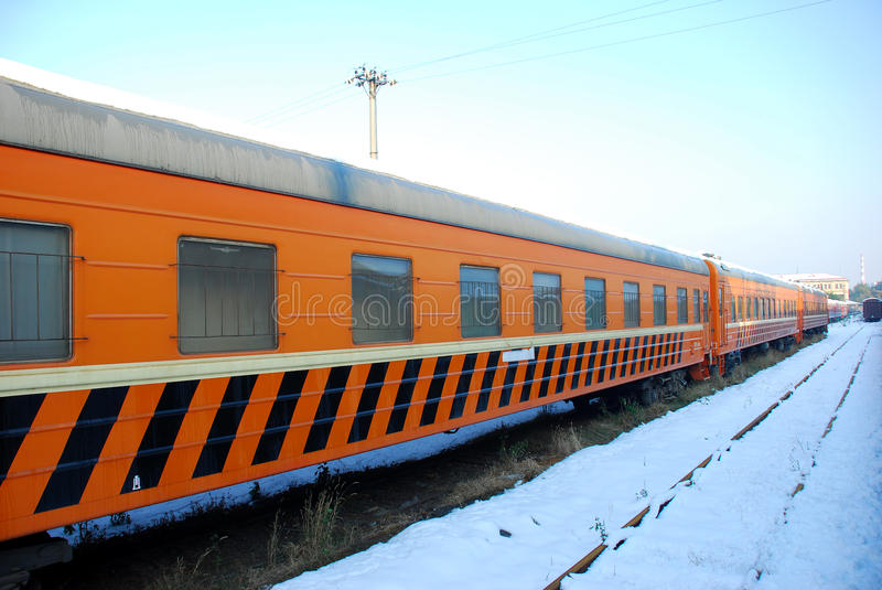 Download The Yellow Train On Platform In Winter Stock Photo - Image: 11843978