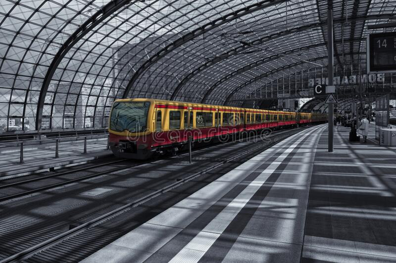 Yellow Train on Railway during Daytime stock images