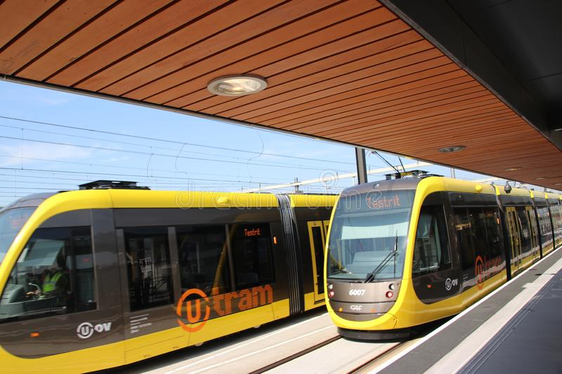 Yellow trains of the Uithoflijn in Utrecht are driving test runs. stock photography