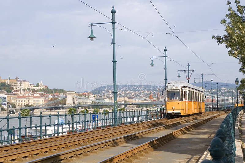 Yellow tram in Budapest royalty free stock photography