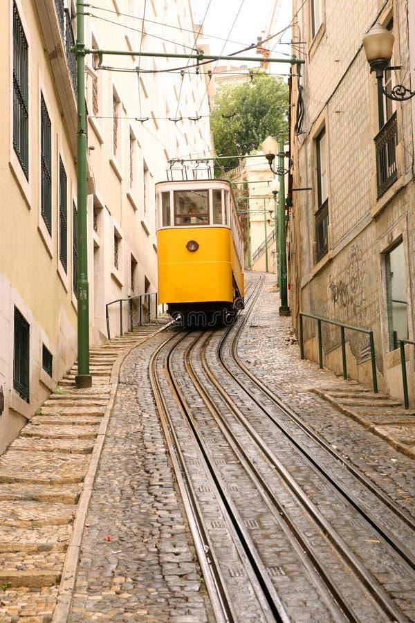 Yellow Tram In Lisbon Stock Photo
