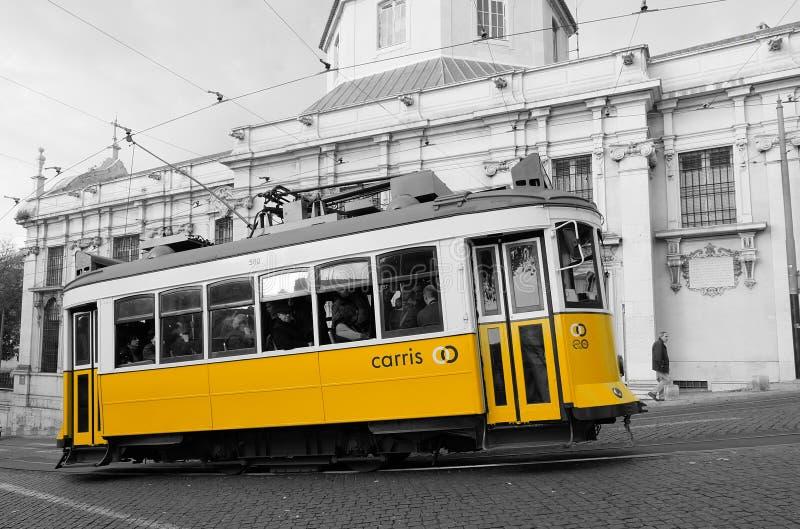 Yellow tram in Lisbon royalty free stock image