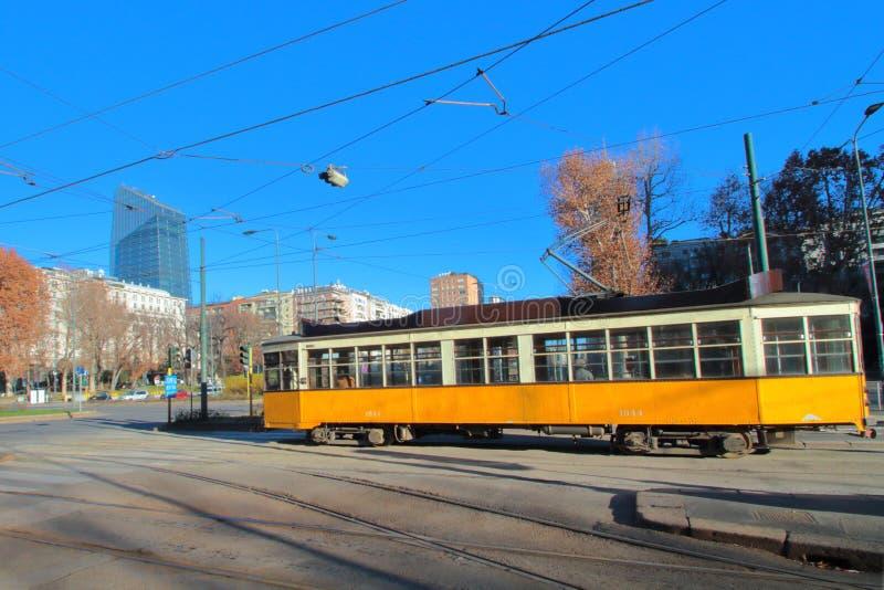 Yellow tram in Milano italy stock photos
