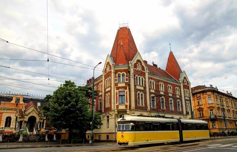 Yellow tram in Timisoara, Romania stock photo