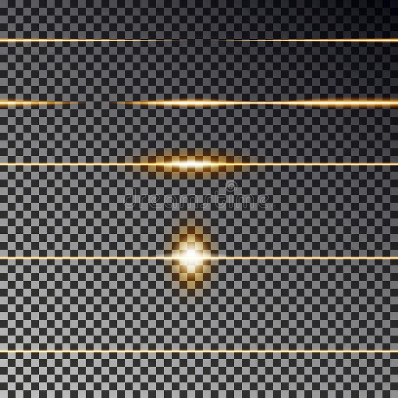 Yellow transparent lines effect collection. Flare light vector. Divider line seamless. royalty free illustration