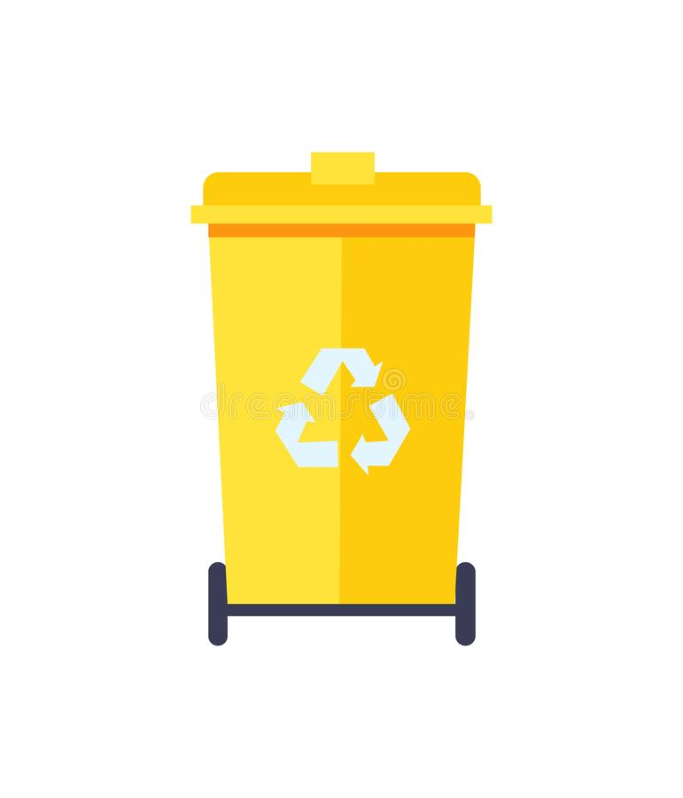 Yellow Trash Can Color Icon Vector Illustration royalty free illustration