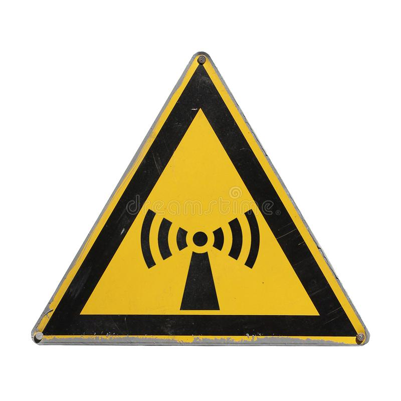 Yellow triangle. Attention electromagnetic radiation. Radiation hazard. Attention electromagnetic radiation. Radiation hazard. Yellow triangle. Sign for collage stock photos