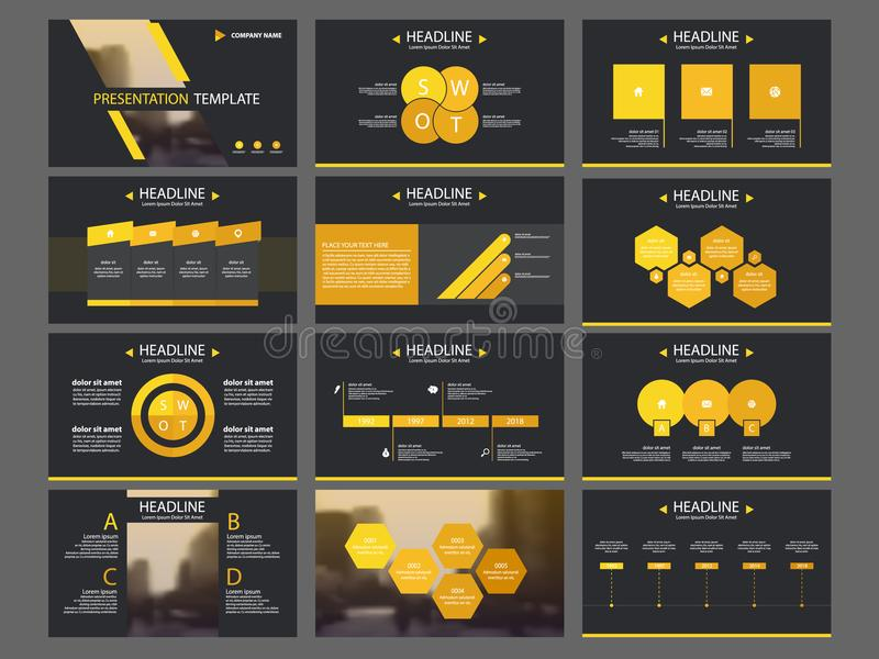 Yellow triangle Bundle infographic elements presentation template. business annual report, brochure, leaflet, advertising flyer, royalty free illustration