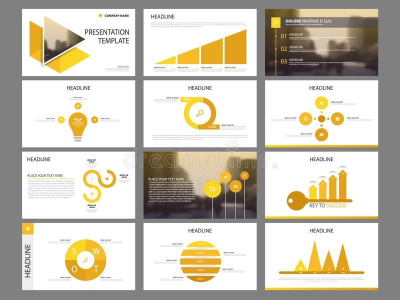 Yellow triangle Bundle infographic elements presentation template. business annual report, brochure, leaflet, advertising flyer, stock illustration