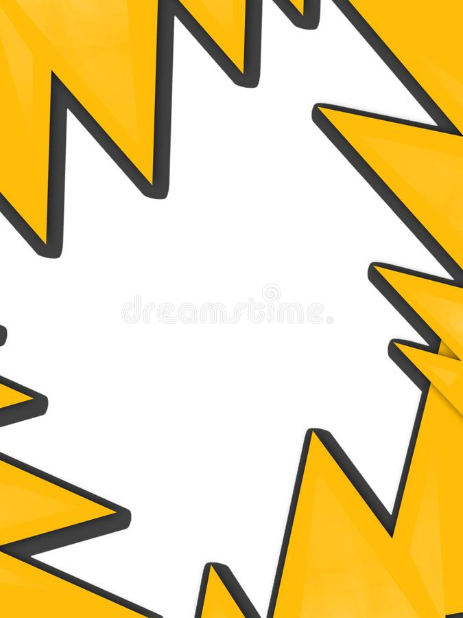 Yellow triangle overlap border abstract background. Vertical creative background vector illustration