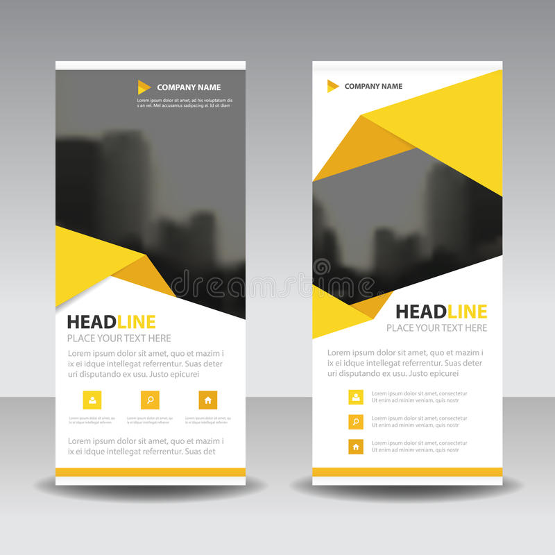 Yellow triangle roll up business brochure flyer banner design , cover presentation abstract geometric background, royalty free illustration