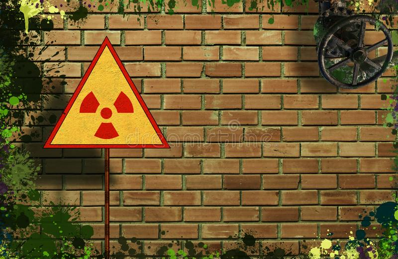 Yellow triangle sign with an international Radioactive Symbol on messy and dirty brick wall background. Digital mock-up.  royalty free stock photography