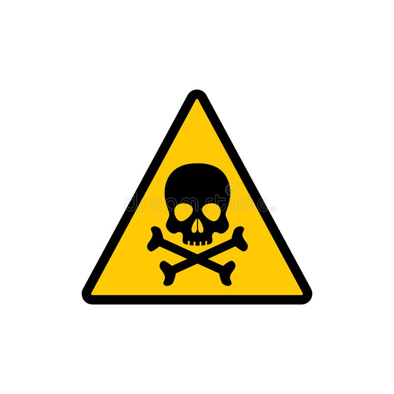 Yellow triangle warning toxic sign. Toxic warning vector symbol sticker. stock illustration