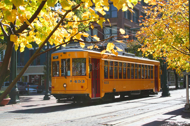 Download Yellow Trolley stock image. Image of public, memphis, retro - 1787191