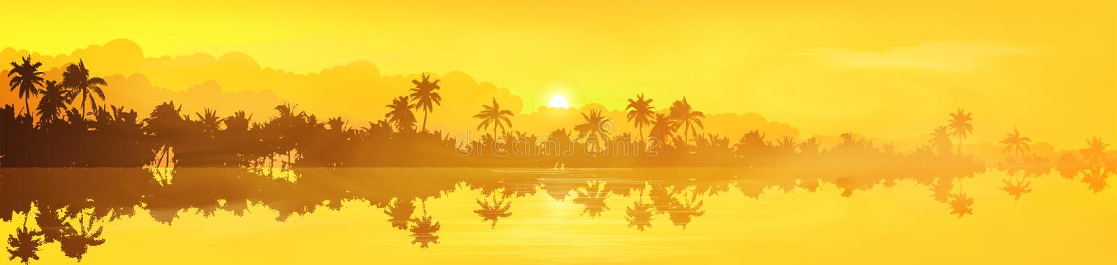 Yellow tropical island with palm trees silhouettes sunset or sunrise view in fog and clouds, vector banner illustration.  royalty free illustration