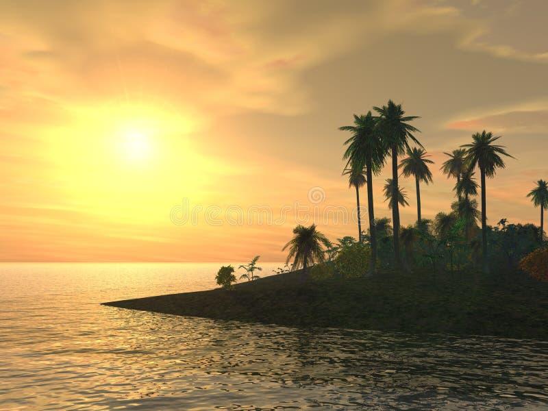 Yellow Tropical Island Sunset stock illustration