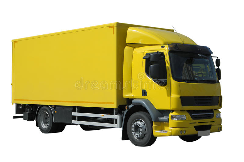 Download Yellow truck stock photo. Image of trailer, move, white - 14572276