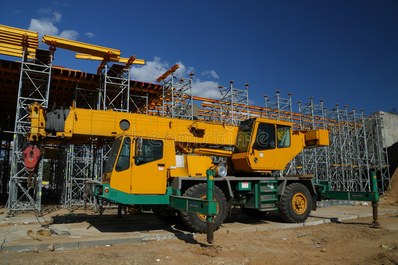 Yellow Truck Crane Royalty Free Stock Images