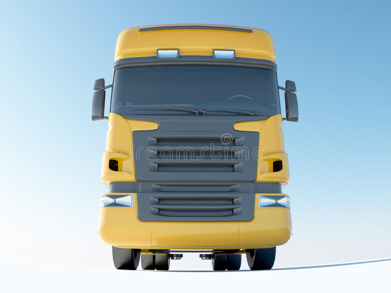 Yellow truck front view vector illustration