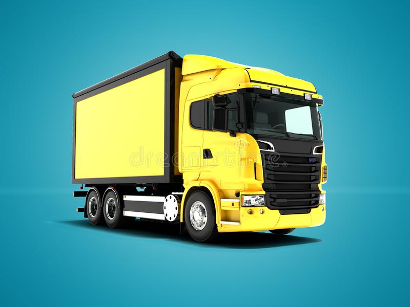 Yellow truck with yellow body with black inserts for transportation of goods perspective on the left 3d render on blue background royalty free illustration