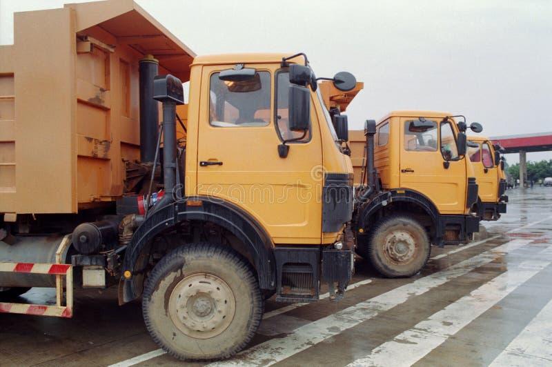 Yellow trucks stock image