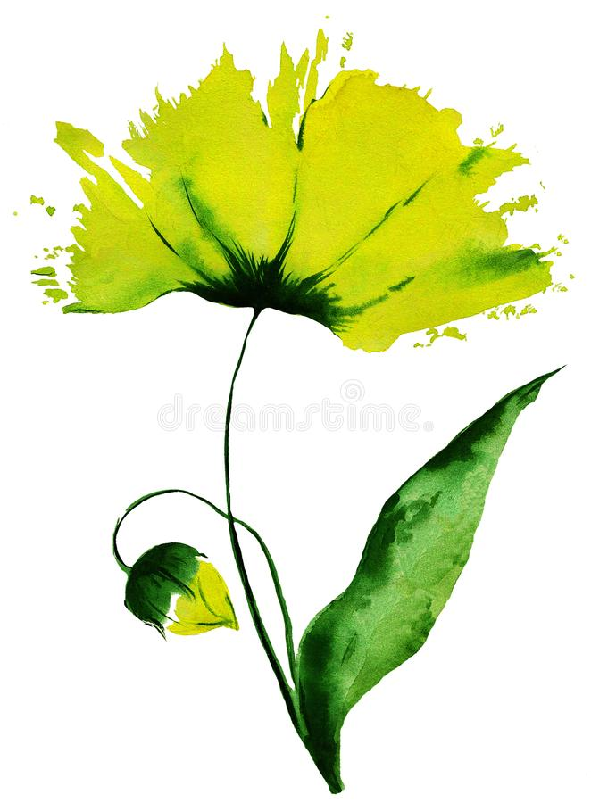 Yellow Tulip bloomed impression painting stock photo