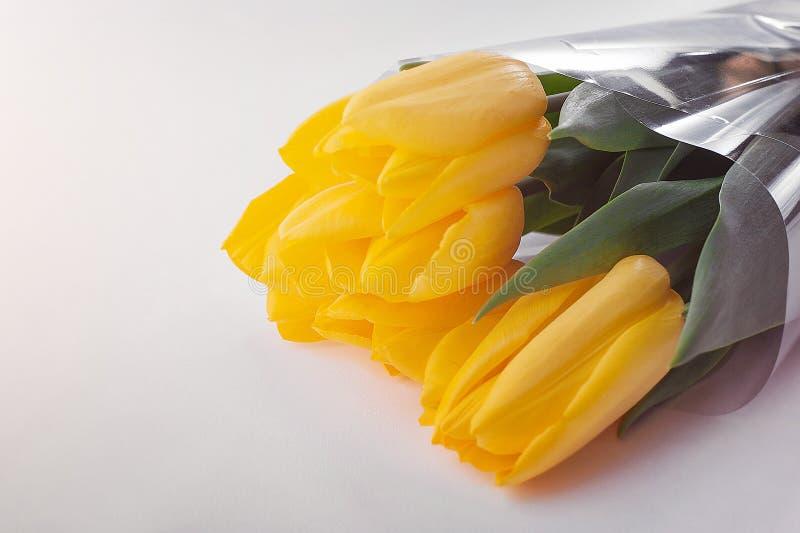 Yellow tulip bouquet stock photos