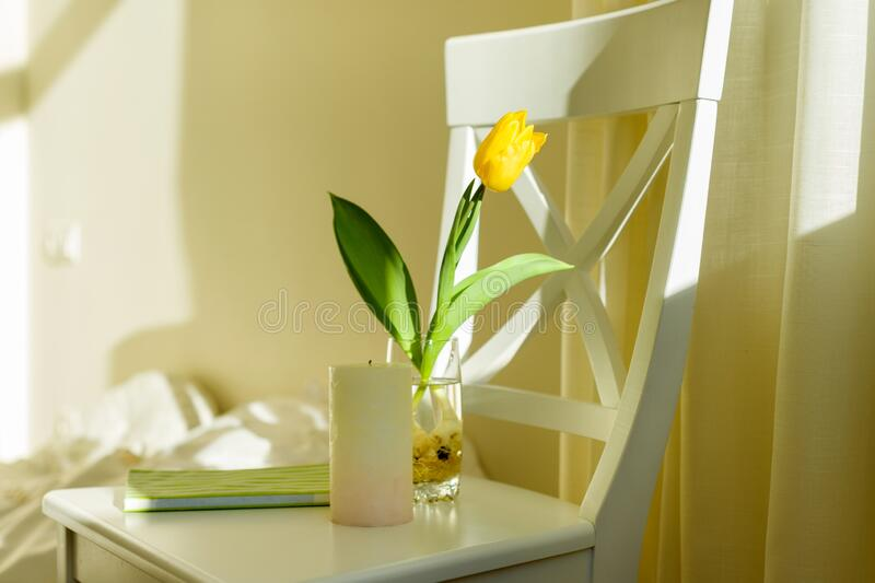 Yellow tulip flower in glass with water on white chair in bedroom interior. Sunny spring day stock images