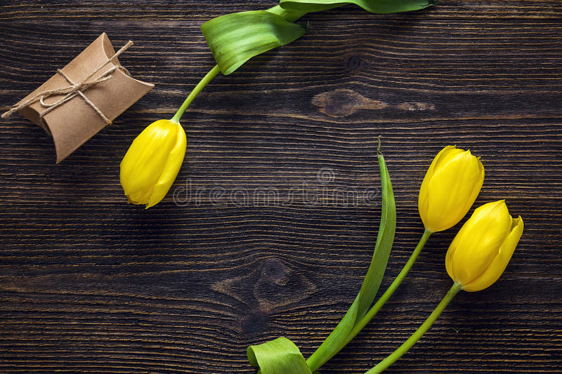 Yellow tulips with gift box on dark wooden background. royalty free stock photo