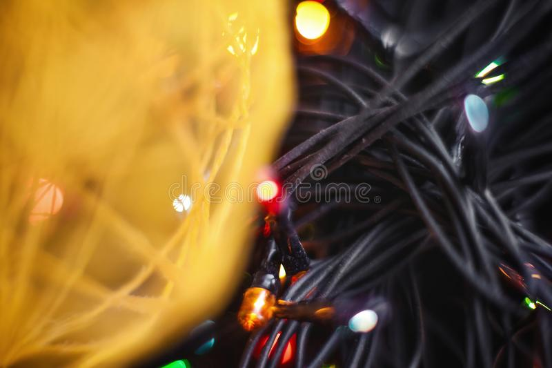 Yellow twine and garland royalty free stock photography
