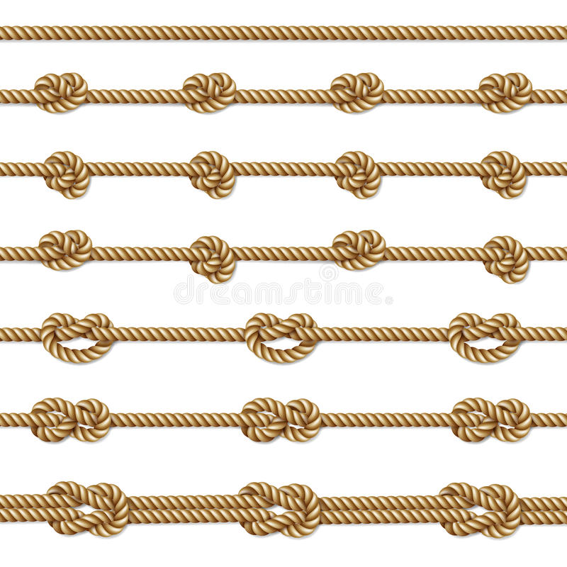 Yellow twisted rope border set, on white vector illustration