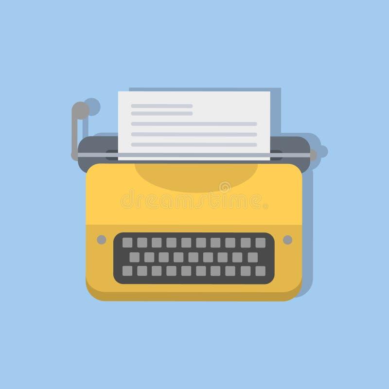Yellow typewriter. Retro equipment for writers and journalists stock illustration
