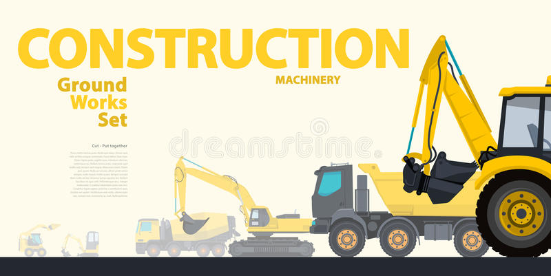 Yellow typography set of ground works machines vehicles. Excavator - construction equipment. Yellow typography set of ground works machines vehicles - Excavator stock illustration