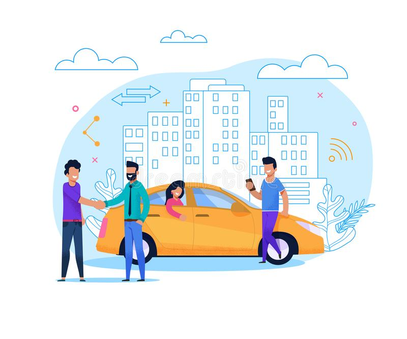 Yellow Taxi Order or Share. Flat Line Illustration. Yellow Uber Taxi Share. Businessman Order Vehicle on Street by Smartphone App. Modern Transport Rent and vector illustration