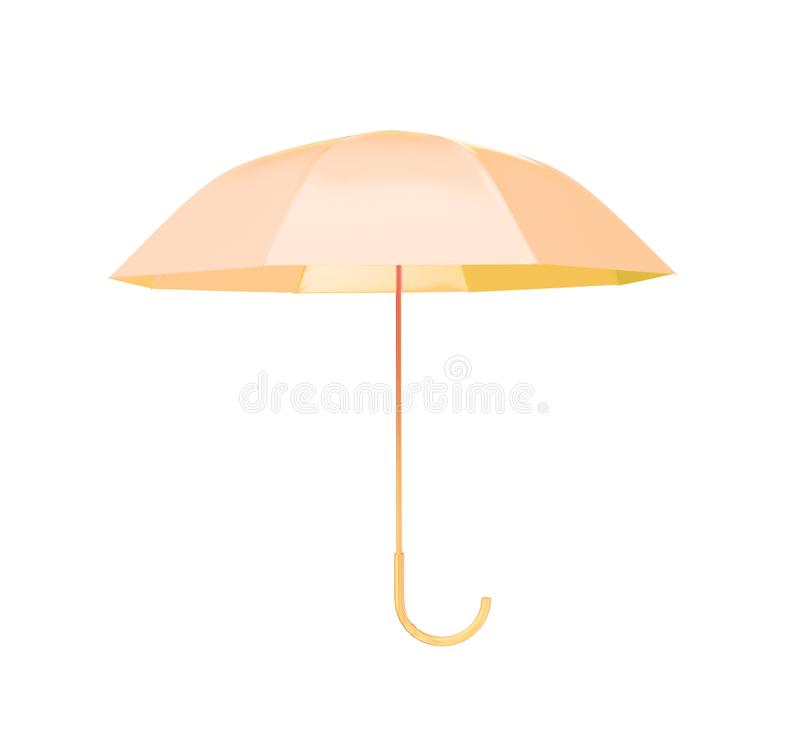 Yellow umbrella concept rendered isolated 3d render.  royalty free illustration