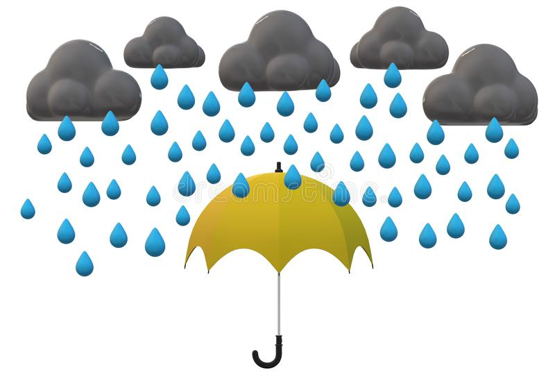 A yellow umbrella shielding from the heavy downpour vector illustration