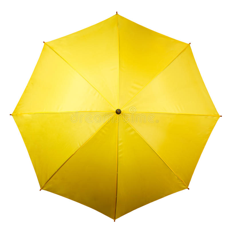 Yellow umbrella - top view royalty free stock photography