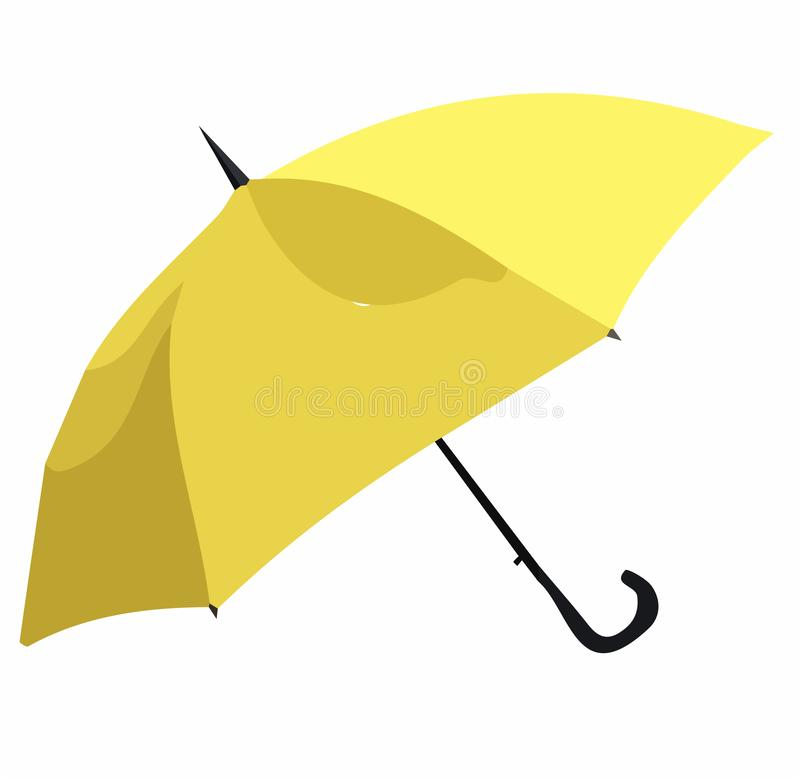 Yellow umbrella vector. Umbrellas and parasols are primarily hand-held portable devices sized for personal use. The largest hand-portable umbrellas are golf royalty free illustration