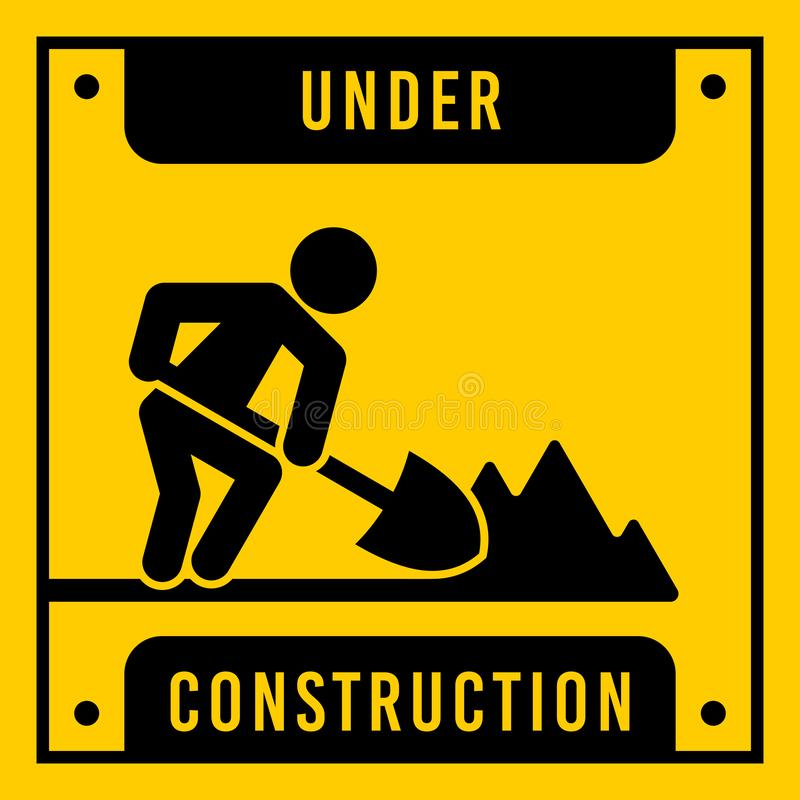 Yellow under construction, vector sign. stock illustration