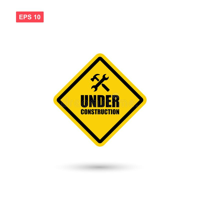 Yellow under construction sign vector isolated vector illustration