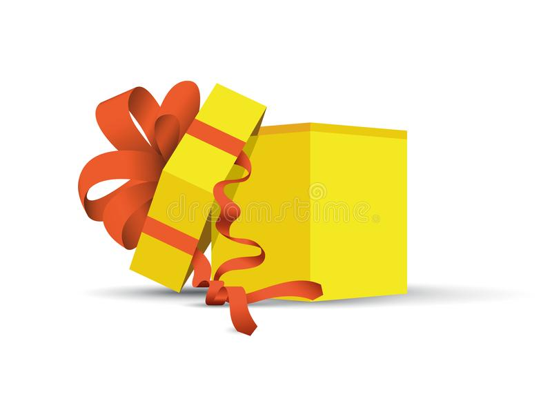 Yellow wrapped present vector illustration