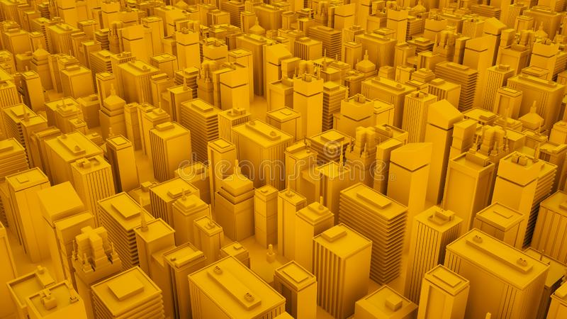 Yellow Urban isometric area with skyscrapers. 3d illustration royalty free illustration