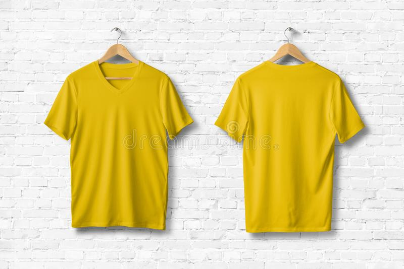 Yellow V-Neck Shirt Mock-up hanging on white wall. royalty free illustration
