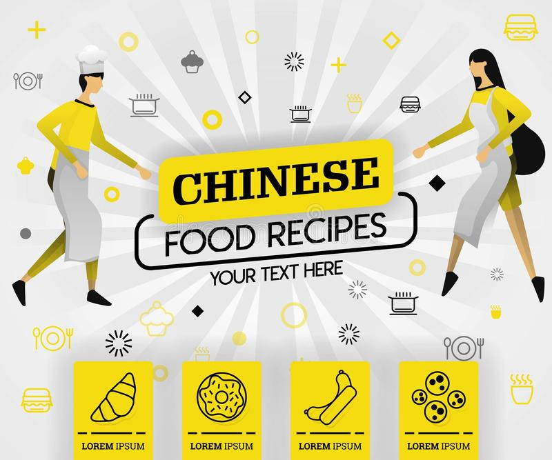 Yellow vector illustration concept. chinese food recipes recipes cover book.  healthy cooking recipe and delicious food cover can royalty free illustration