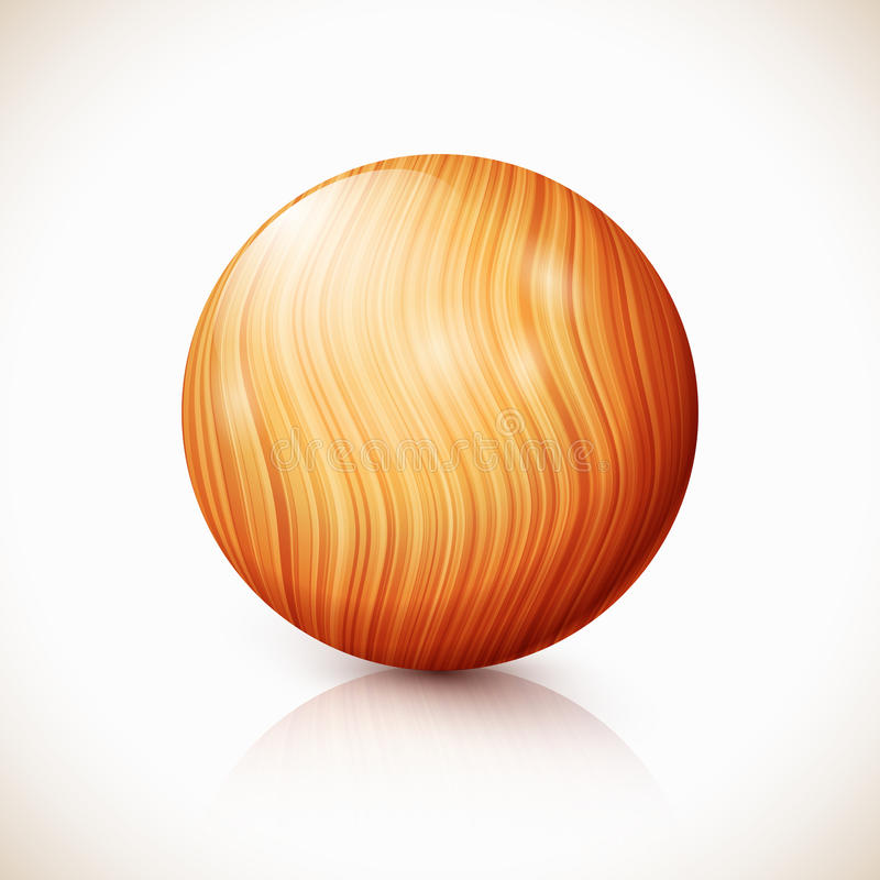 Yellow Vector Isolated Wooden Ball Stock Image
