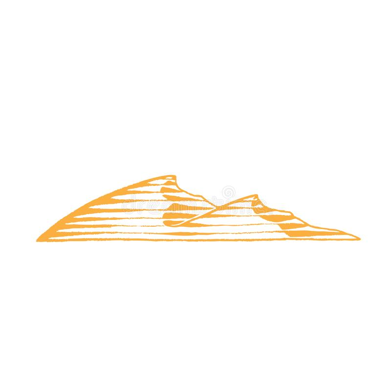 Yellow Vectorized Ink Sketch of Sand Dunes Illustration stock illustration