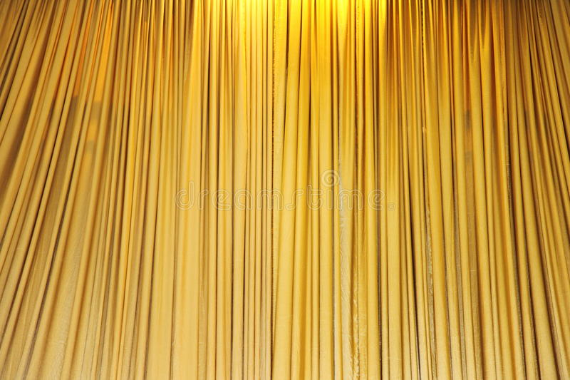 Yellow velvet theater curtains stock photos