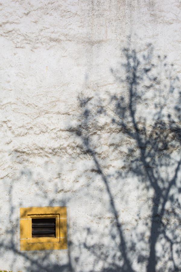 Yellow Ventilation Window and Shadow of Tree at Chateau de Neuchatel - Neuchatel, Switzerland royalty free stock photography