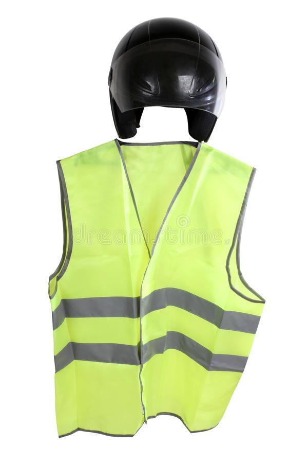 Yellow vest four. Construction hard helmet and yellow vest on white background royalty free stock photography
